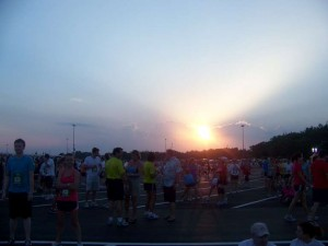 Waiting for the race at sunset