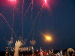 Starting line fireworks